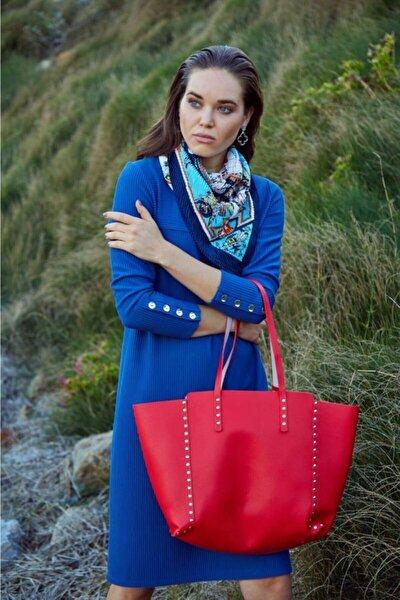 Kayık Yaka Kolları Düğmeli Maxi Elbise 201-2502
