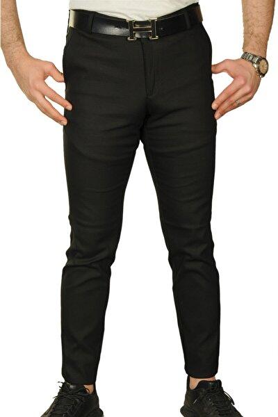 Erkek Siyah  Slım Fıt Petekli Likralı %100 Pamuklu Keten Desenli Pantolon