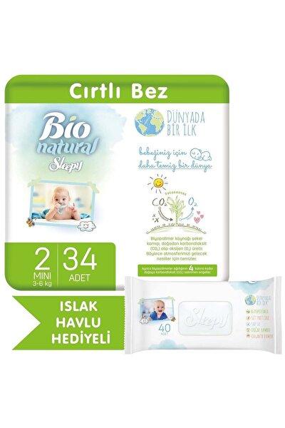 Bio Natural Bebek Bezi 2 Numara Mini 34 Adet + Bio Natural Islak Havlu Hediyeli