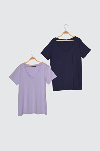 Lacivert-Lila %100 Pamuk Basic V Yaka 2'li Paket Örme T-Shirt TWOSS20TS0142