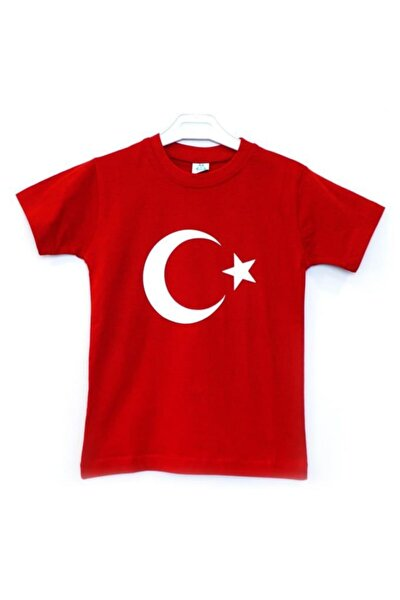 Kısa Kollu Ay Yıldız Bayraklı Tişört