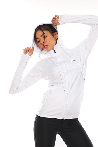 Kadın Beyaz Içi Pamuklu Fermuarlı Kapüşonlu Spor Sweatshirt
