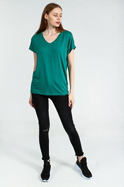 Yeşil V Yakalı Kısa Kollu Basic Kadın Tshirt