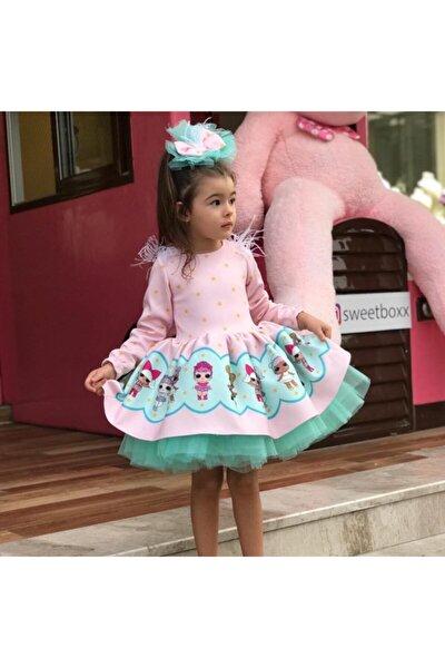 Pembe Turkuaz Tütülü Lol Baby Kız Çocuk Elbise