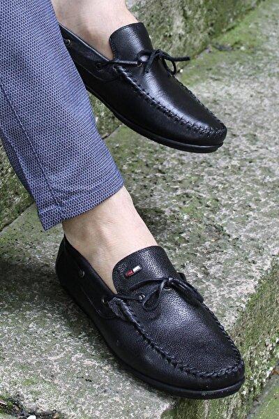 Hakiki Deri Siyah Erkek Loafer Ayakkabı 628ma01