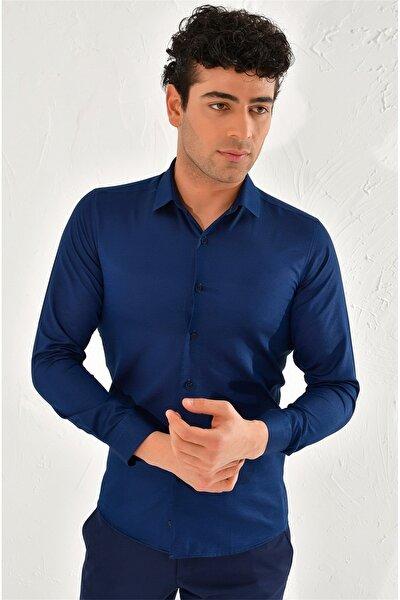 Gk 572 Slim Fit Lacivert Klasik Gömlek