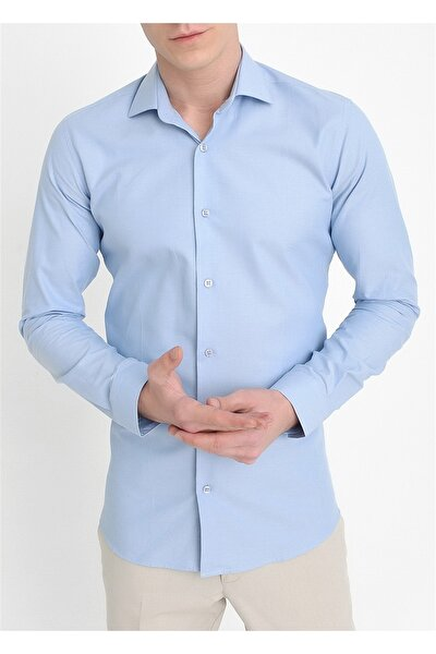 Gk 549 Slim Fit Mavi Klasik Gömlek