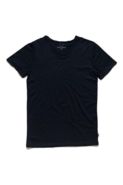 Erkek Siyah V-neck Tee Navy Tişört (18.01.07.012-c07)