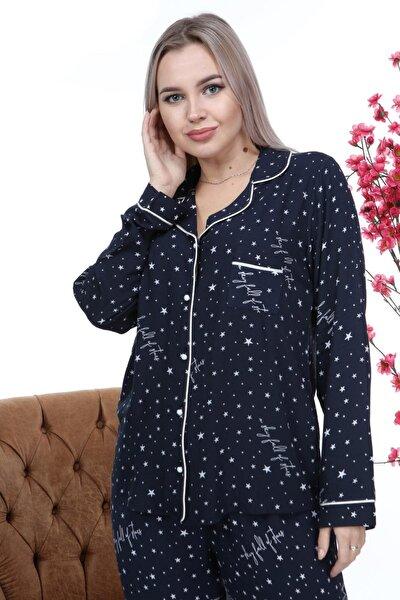 Modern Yıldızlı Lacivert Pijama Takımı