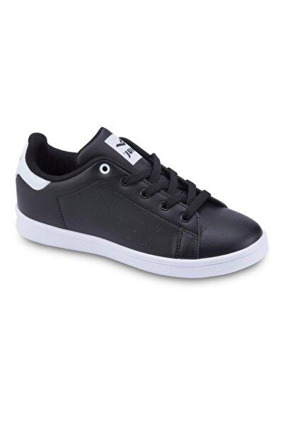 Unisex Çocuk Siyah Beyaz Bağcıklı Günlük Spor Ayakkabı