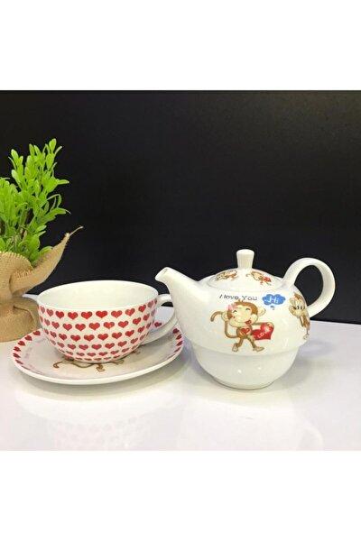 4 Parça Kırmızı Beyaz Maymun Figürlü Çay Ve Kahve Fincanı + Porselen Demlik