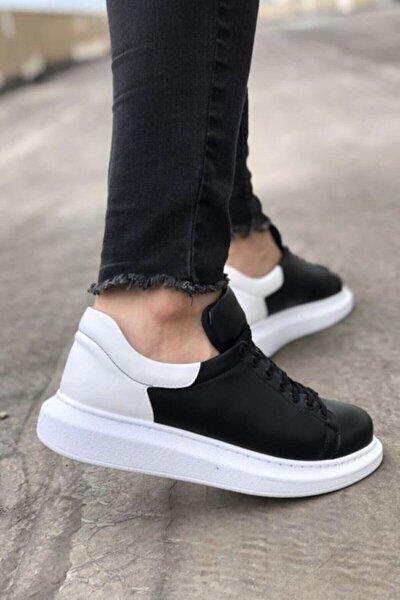 Erkek Siyah Beyaz Yüksek Taban Ayakkabı