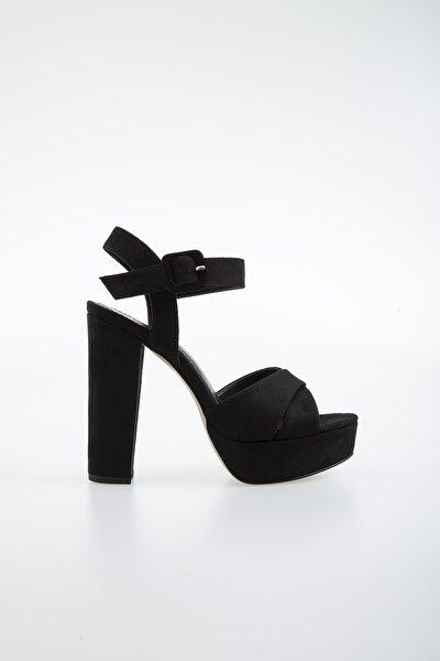Pc-50165 Suet Siyah Kadın Ayakkabı