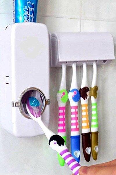 Otamatik Diş Macunu Sıkacağı Ve 5 Adet Diş Fırçalığı Macun Sıkacak Diş Fırçası Banyo Askı Seti