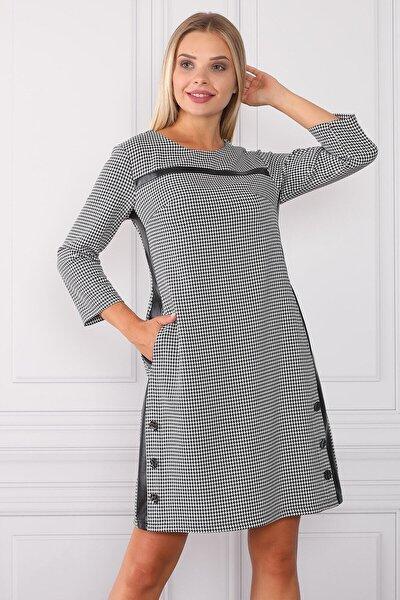 Kadın Çizgili Ve Deri Detaylı Elbise