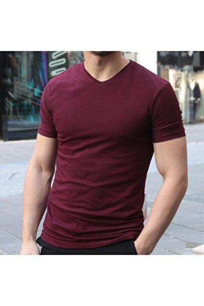 Erkek Vişne Renk V Yaka Slim Fit T-shirt