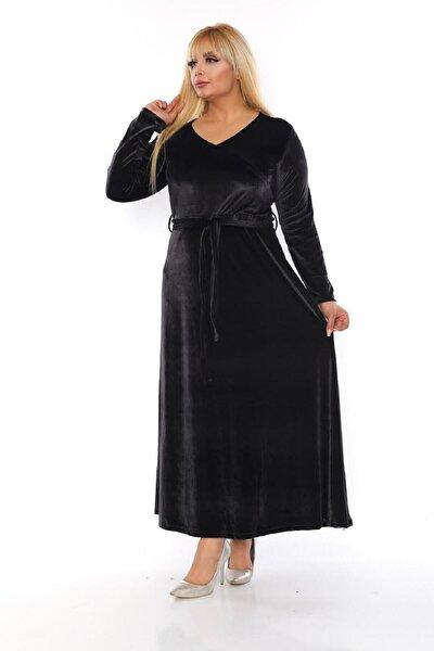 Kadın Siyah Kruvaze Yaka Kadife Uzun Elbise