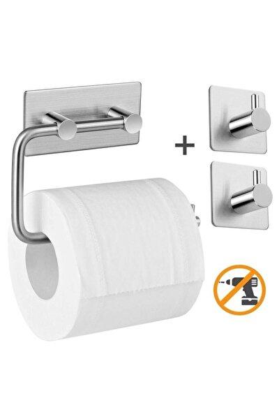 Paslanmaz Çelik Tuvalet Kağıtlığı Standı + 2 Askılık - Yapışkanlı Sistem - Vida Yok!