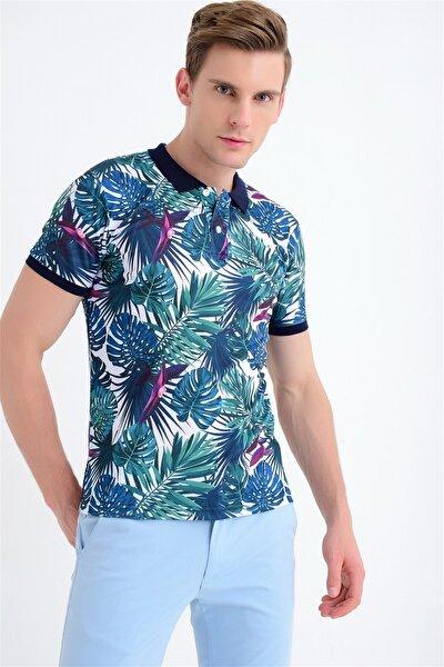 Ets 004 Slim Fit Yeşil-lacivert Spor T-shirt