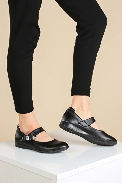 Hakiki Deri Siyah Kız Çocuk Babet Ayakkabı 837fa01
