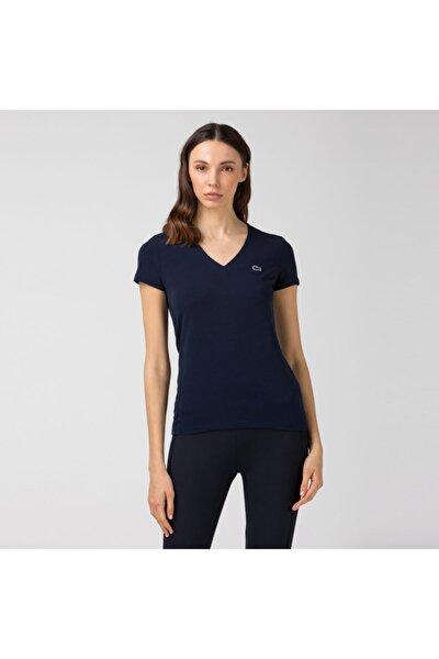 Kadın Slim Fit V Yaka Lacivert T-Shirt