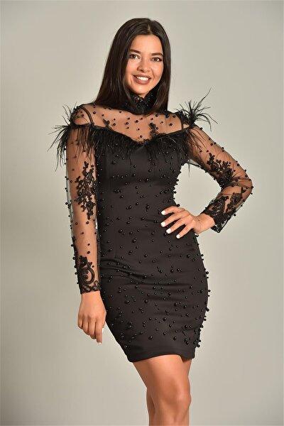Siyah Inci Detay Tasarım Abiye Elbise