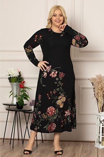 Kadın Siyah Çiçek Desen Uzun Esnek Krep Elbise