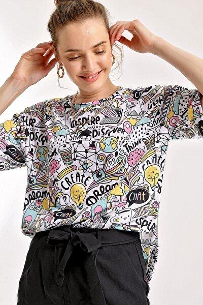 4124 Grafik Desen Oversize T-shirt