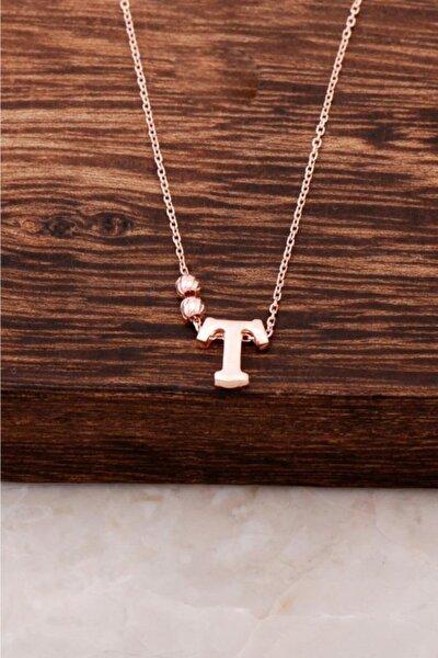 T Harfli Tasarım Rose Gümüş Kolye 3838