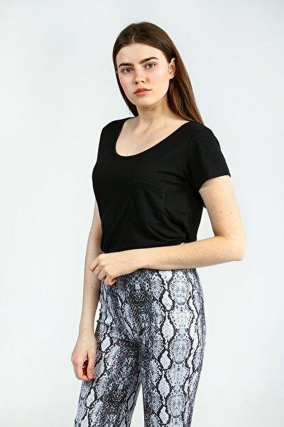 Kadın Siyah Kısa Kollu Basic  Tshirt