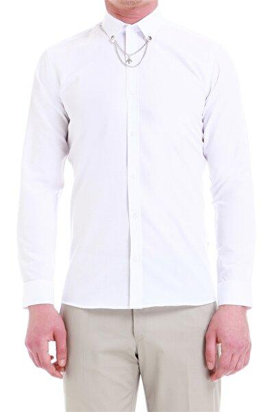 Gk 541 Slim Fit Beyaz Klasik Gömlek