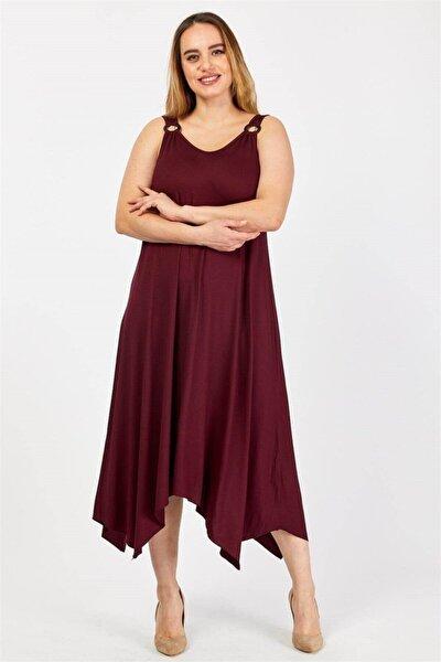 Büyük Beden Halka Detaylı Askılı Asimetrik Kesim Elbise