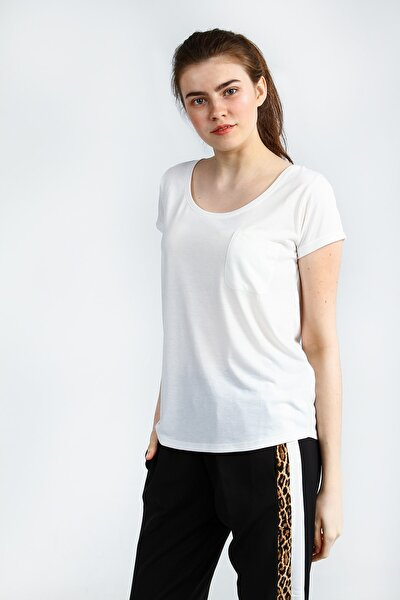 Ecru Kısa Kollu Basic Kadın Tshirt
