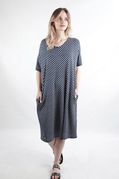 Cepli Comfort Kalıp Midi Boy Elbise, Lacivert (B1408elb09)