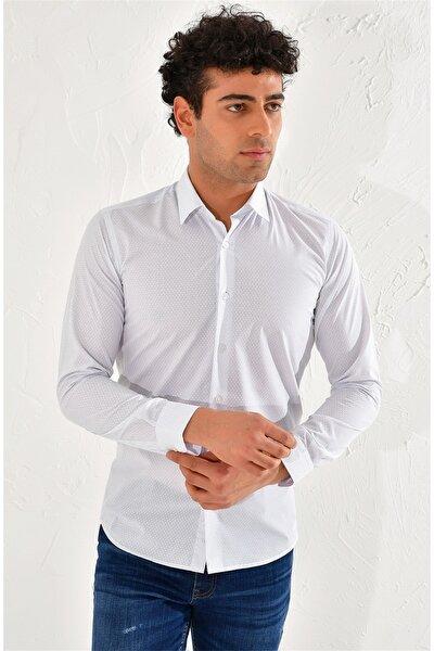 Gk 589 Slim Fit Beyaz-lacivert Klasik Gömlek