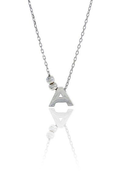 A Harfli Tasarım Gümüş Kolye 3493