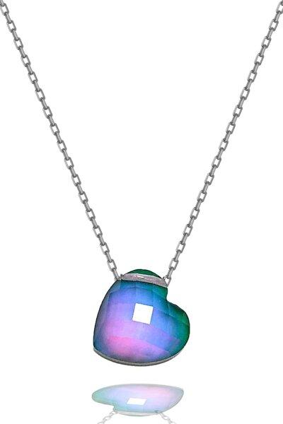 Kalp Model His Taşı Isıya Göre Renk Değiştiren Gümüş Kolye