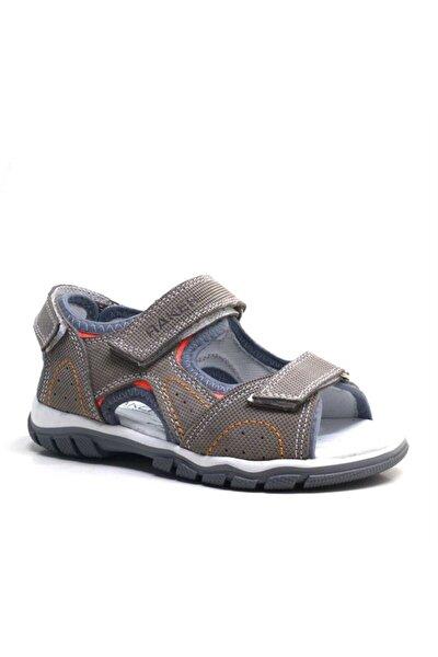 Hakiki Deri Gri Cırtlı Erkek Çocuk Sandalet Yazlık Ayakkabı