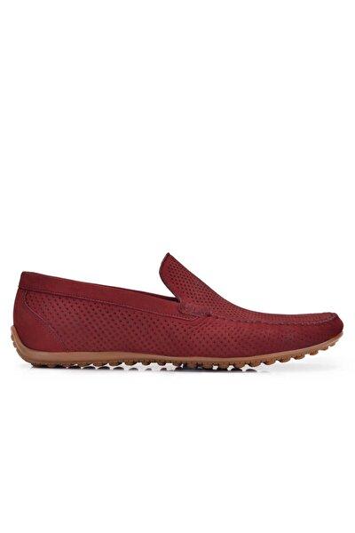 Hakiki Deri Kırmızı Günlük Loafer Yazlık Erkek Ayakkabı -11573-