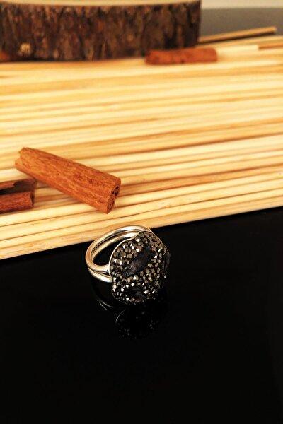 Dr Stone Doğaltaş El Yapımı Ametist Taşı Gümüş Kaplama Anatolia Ayarlanabilir Halkalı Yüzük Ktdr70