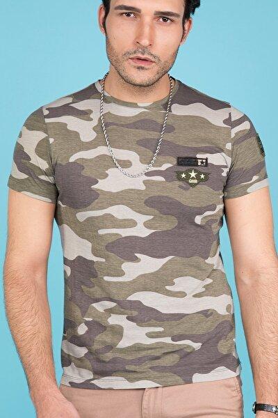 Haki Kamuflaj Baskılı Slim Fit Erkek T-shirt