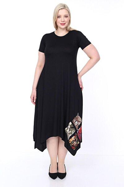 Kadın Büyük Beden Asimetrik Kesim Siyah Elbise