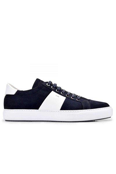 Hakiki Deri Lacivert Sneaker Erkek Ayakkabı -10859-