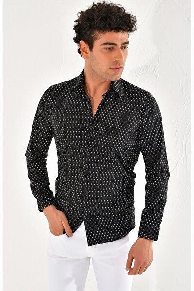 Gk 586 Slim Fit Siyah Klasik Gömlek