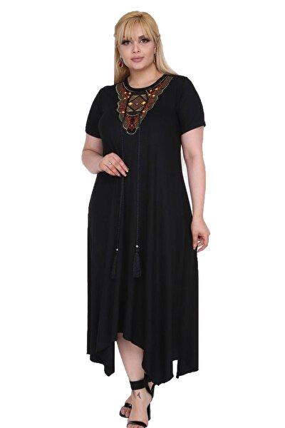 Kadın Büyük Beden Siyah Etnik Desen Detaylı Bohemian Tarz Elbise