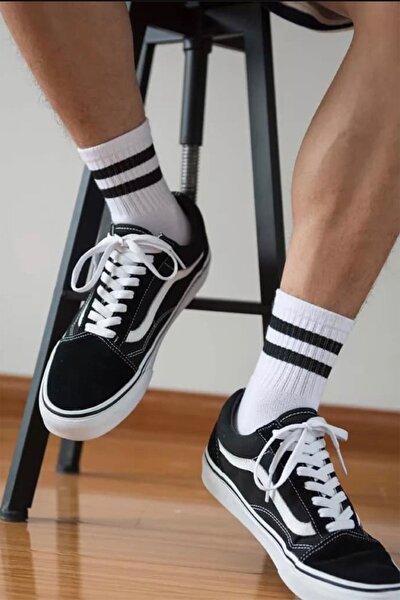 3'lü Siyah Şerit Desenli Renkli Tasarım Çorap