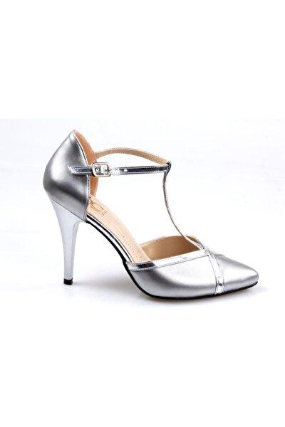 Bayan (35-39) Gri Abiye Stiletto Ayakkabı