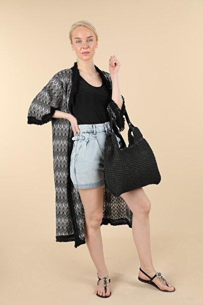 Siyah Gümüş Desenli Kimono