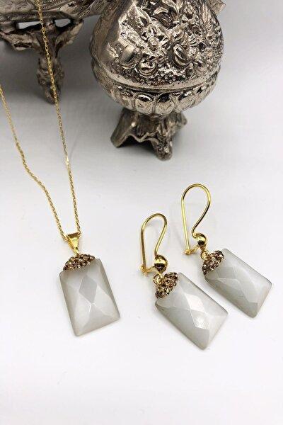 Dr Stone Harem Koleksiyonu Kedigözü Taşı El Yapımı 925 Ayar Gümüş Set Gdr9