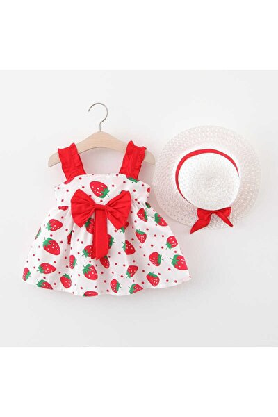 Kırmızı Çilek Elbise Ve Şapka 2'li Set